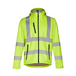ZAGREB WORK. High-visibility softshell jacket for men, with removable hood, Male, 100% polyester (3 layers): 320 g/m², Hexachrome yellow, XXL
