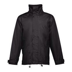 LIUBLIANA. Unisex heavy-weight coat, Unisex, Exterior: 100% polyester pongee 240 and waterproof PVC coating. Inside: 100% taffeta polyester. Filling: polyester 80 g/m², Black, XXL