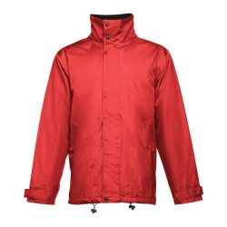 LIUBLIANA. Unisex heavy-weight coat, Unisex, Exterior: 100% polyester pongee 240 and waterproof PVC coating. Inside: 100% taffeta polyester. Filling: polyester 80 g/m², Red, XS