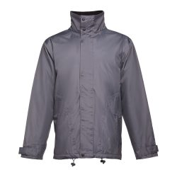 LIUBLIANA. Unisex heavy-weight coat, Unisex, Exterior: 100% polyester pongee 240 and waterproof PVC coating. Inside: 100% taffeta polyester. Filling: polyester 80 g/m², Grey, XL