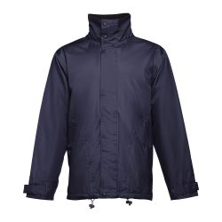 LIUBLIANA. Unisex heavy-weight coat, Unisex, Exterior: 100% polyester pongee 240 and waterproof PVC coating. Inside: 100% taffeta polyester. Filling: polyester 80 g/m², Navy blue, S