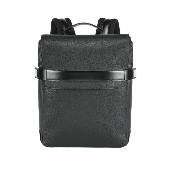 Rucsac laptop 14 inch, Branve by AleXer, 20FEB0940, Piele ecologica, Poliuretan, Negru