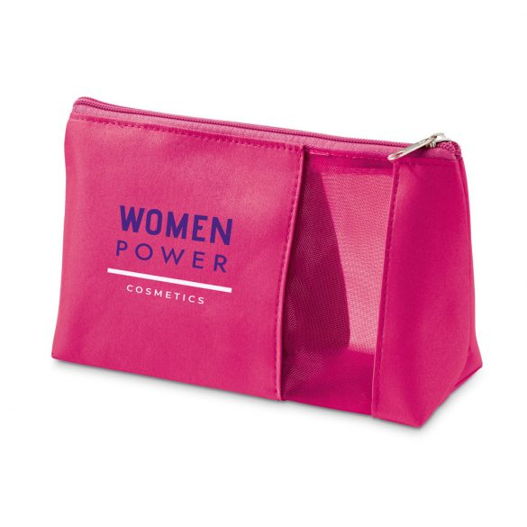 Cosmetic bag, Microfiber and mesh, Fuchsia