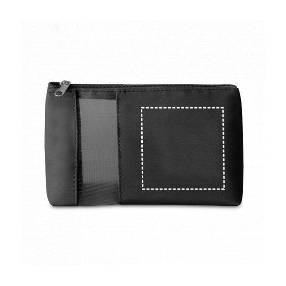 Cosmetic bag, Microfiber and mesh, Black