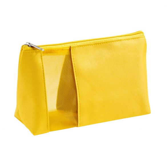 Cosmetic bag, Microfiber and mesh, Yellow