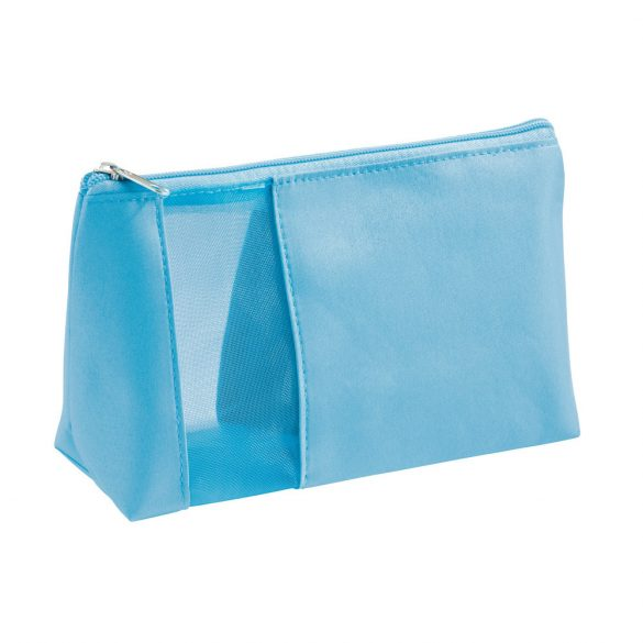 Cosmetic bag, Microfiber and mesh, Light blue
