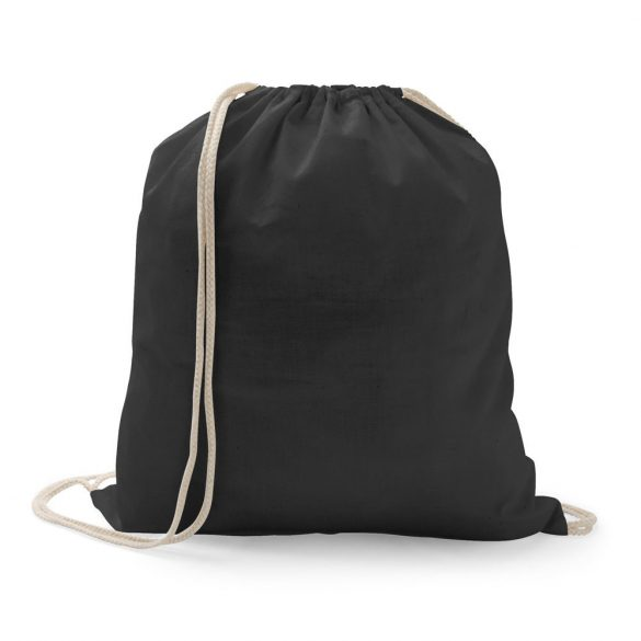 Drawstring bag, 100% cotton, Black