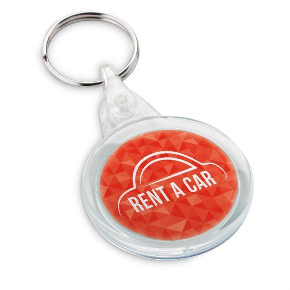 Breloc rotund cu clips, Everestus, KR0539, plastic, transparent