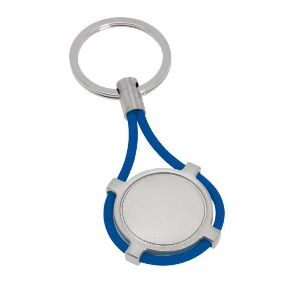 Breloc rotund, Everestus, KR0503, metal, silicon, albastru