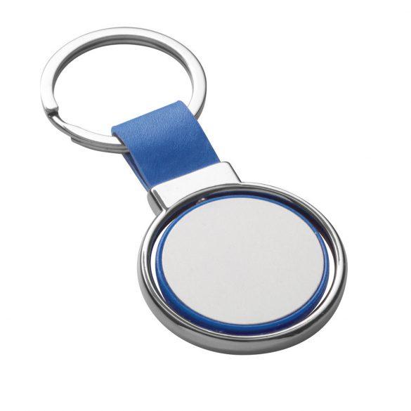 Breloc rotund, Everestus, KR0471, piele ecologica, metal, albastru