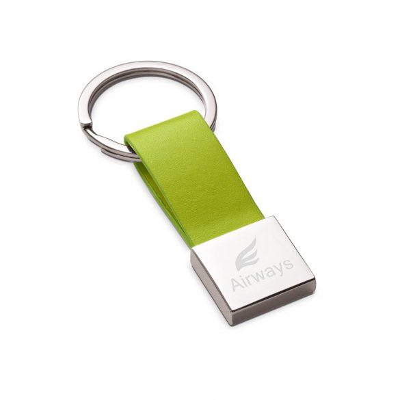 Breloc Everestus, KR0477, piele ecologica, metal, verde