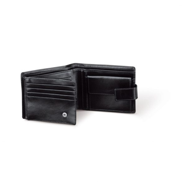 Portofel cu 3 compartimente pentru bancnote, 120x96x18 mm, Everestus, 20FEB1009, Poliester 600D, Negru