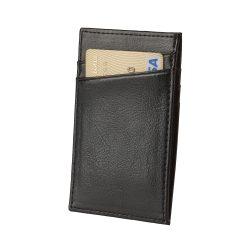 Portofel cu 4 locuri de carduri si organizator bancnote, Everestus, NB, piele, negru, 65x106 mm