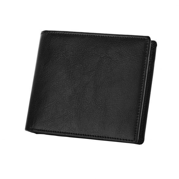 Portofel cu 3 locuri de carduri si buzunar de monede, Everestus, NB, piele, negru, 110x92x13 mm