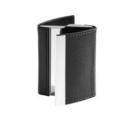 Portcard din metal si piele ecologica, Everestus, PE02, negru, 93x67x19 mm
