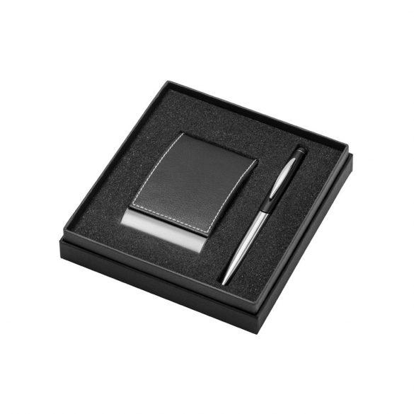Set portcard si pix, Everestus, ST03, metal, piele ecologica, negru, 110x155 mm