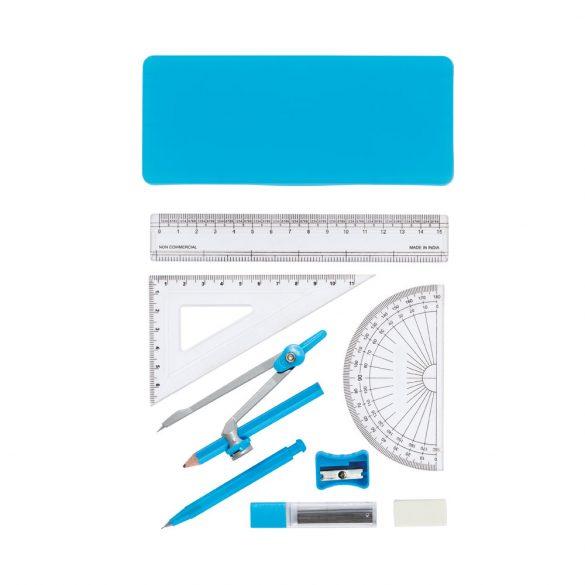 Set geometrie pentru scoala, 9 piese, Everestus, SGS01, polipropilena, albastru