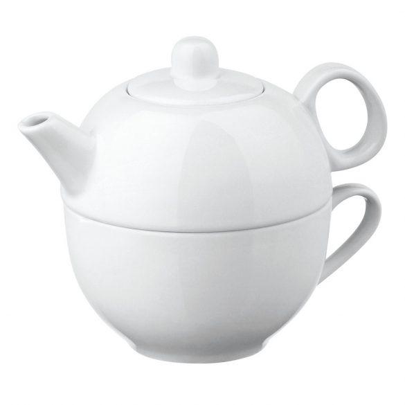 Set ceainic 260 ml si cana 430 ml, Everestus, 20FEB0396, Portelan, Alb