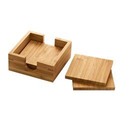 Set 4 bucati suport pahare din bambus, in cutiuta de lemn, Everestus, SPI17, natur