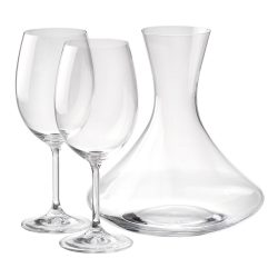 Set sticla pentru vin 1600 ml si 2 pahare 450 ml, Everestus, 20FEB1505, Sticla, Transparent