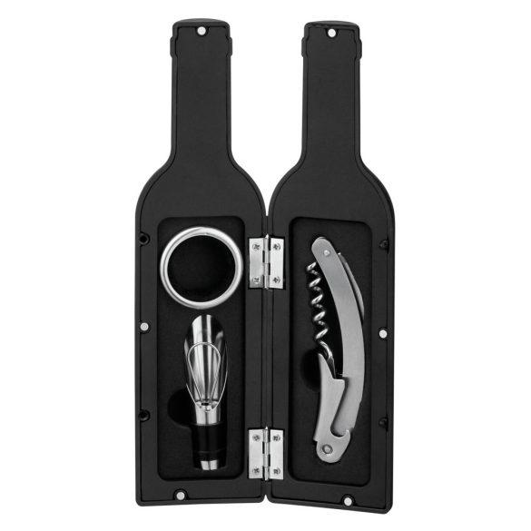 Set 3 accesorii vin in forma de sticla, Everestus, 20FEB1507, Metal, Negru