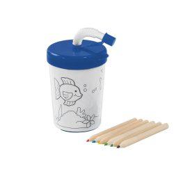 Set de colorat, cana 200 ml cu pai flexibil si 4 creioane, Everestus, 20APR001, polipropilena, albastru