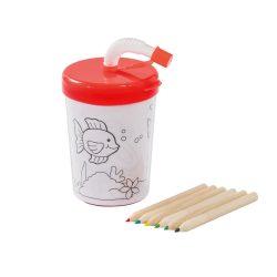Set de colorat, cana 200 ml cu pai flexibil si 4 creioane, Everestus, 20APR003, polipropilena, rosu