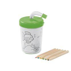 Set de colorat, cana 200 ml cu pai flexibil si 4 creioane, Everestus, 20APR002, polipropilena, verde