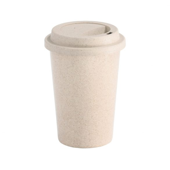 Travel cup, Bamboo fiber and PP, Natural