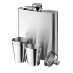 Set plosca 200 ml cu 2 paharute, Everestus, 20FEB1101, Otel, Argintiu