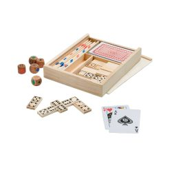 Set jocuri 4-in-1 in cutie din lemn, Everestus, JJE03, natur
