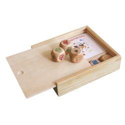 Set jocuri 2-in-1, in cutie de lemn, 103x97x25 mm, Everestus, SGS04, lemn, natur