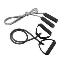 Set fitness cu elastic si coarda de sarit, in husa din poliester, Everestus, SFT01, negru