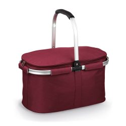 Cos picnic flexibil cu fermoar dublu, fara accesorii, Everestus, 20FEB0930, Poliester 600D, Burgundy