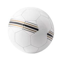 Minge de fotbal, marime 5, Everestus, FL03, alb cu dungi colorate, pvc