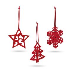 Set 3 ornamente de Craciun, 80x90x3 mm, Everestus, 20SEP0913, Pasla, Rosu