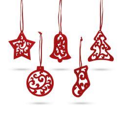 Set 5 ornamente de Craciun, 80x80x3 mm, Everestus, 20SEP0916, Pasla, Rosu
