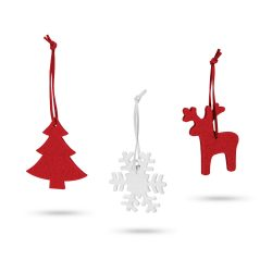 Set 3 ornamente de Craciun, 65x70x3 mm, Everestus, 20SEP0914, Pasla, Rosu