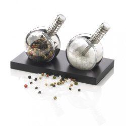 Set 2 recipiente pentru sare si piper, XD by AleXer, 20FEB1353, Otel, Negru