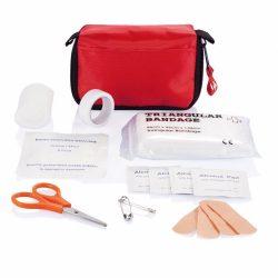 Set de prim ajutor cu husa de protectie, poliester, metal, Everestus, TSPA17, rosu