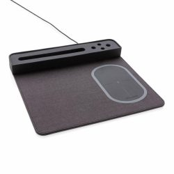 Air mousepad with 5W wireless charging and USB, black Polyester black