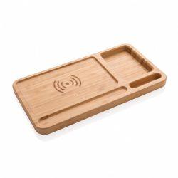 Organizator de birou cu incarcator wireless 5W inclus, Everestus, OR, bambus, maro