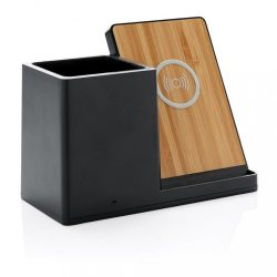 Ontario 5W wireless charger with pen holder, black Bamboo black