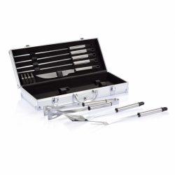 Set accesorii gratar 12 piese in cutie de aluminiu, Everestus, BQ, otel inoxidabil, argintiu, saculet de calatorie inclus