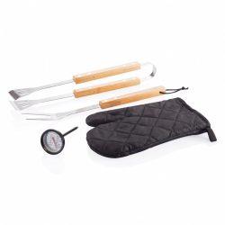 Set accesorii gratar 4 piese, Everestus, BB, bambus, otel inoxidabil, negru, saculet de calatorie inclus