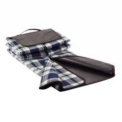 Patura de picnic tartan 130x145 cm, Everestus, BM01, acril, pvc, albastru navy, saculet de calatorie inclus