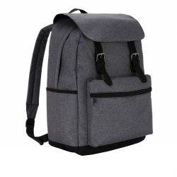 Rucsac Laptop 15.6 inch clasic, compartiment principal larg, Everestus, MC, poliester, gri, saculet si eticheta bagaj incluse