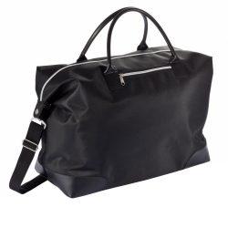 Geanta de weekend cu fermoar, Everestus, WD, microfibra, pp, negru, saculet de calatorie si eticheta bagaj incluse