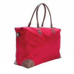 Geanta de voiaj de weekend, Everestus, TL, microfibra, rosu, saculet de calatorie si eticheta bagaj incluse