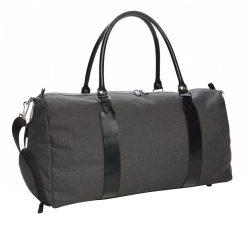Geanta de weekend cu mufa de incarcare usb, Everestus, WD, poliester 600D, negru, saculet de calatorie si eticheta bagaj incluse